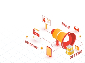 3D megaphone with best discount offers to attract buyers, online purchasing facility, isometric design for business advertisement concept.