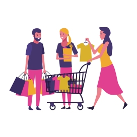 People shopping cartoon